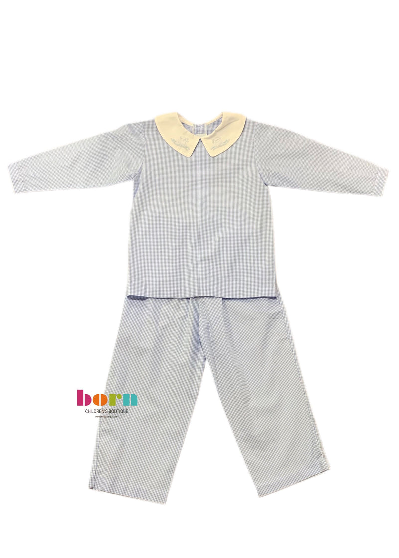 Blue Check with Train Pant Set - Born Childrens Boutique