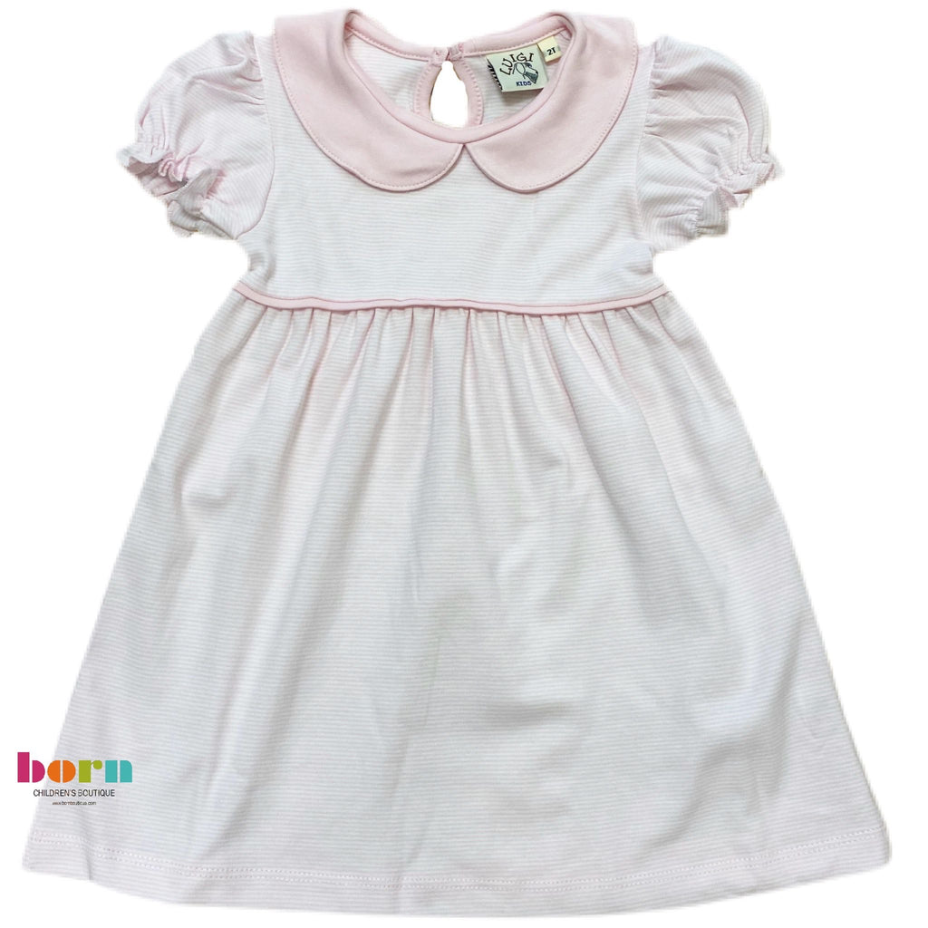 Cap Sleeve Gathered Dress Lt Pink Thin Stripe - Born Childrens Boutique