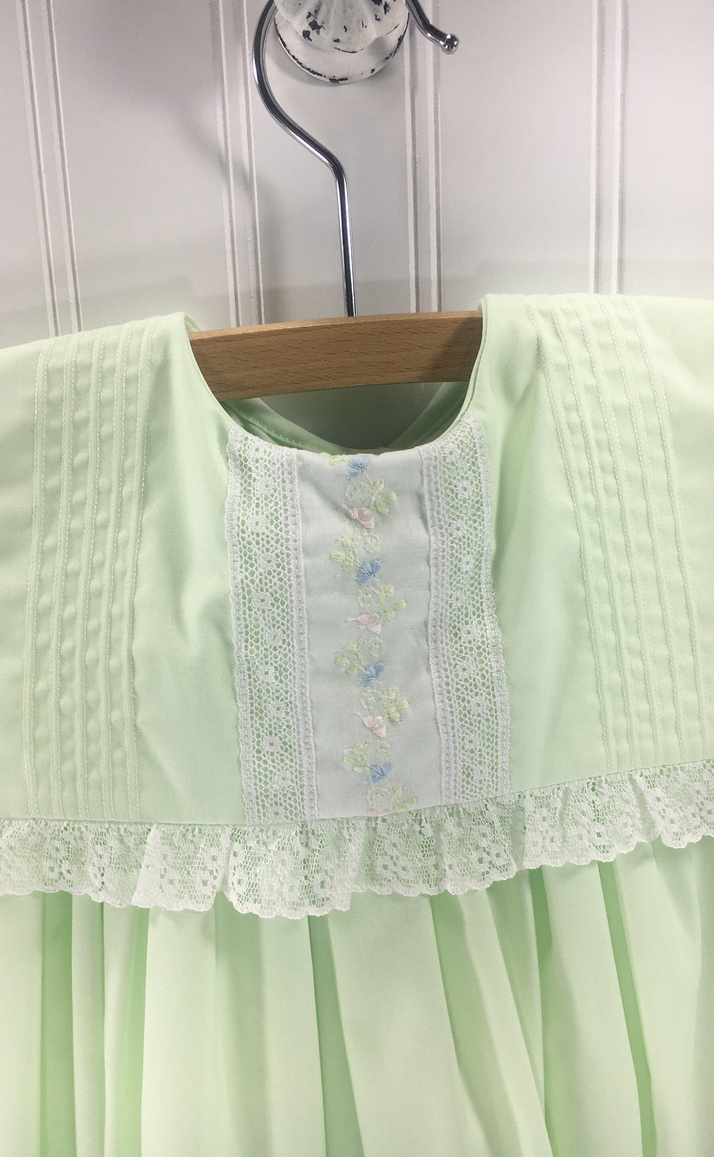 Heirloom Sleeveless Dress Mint with White Insertion