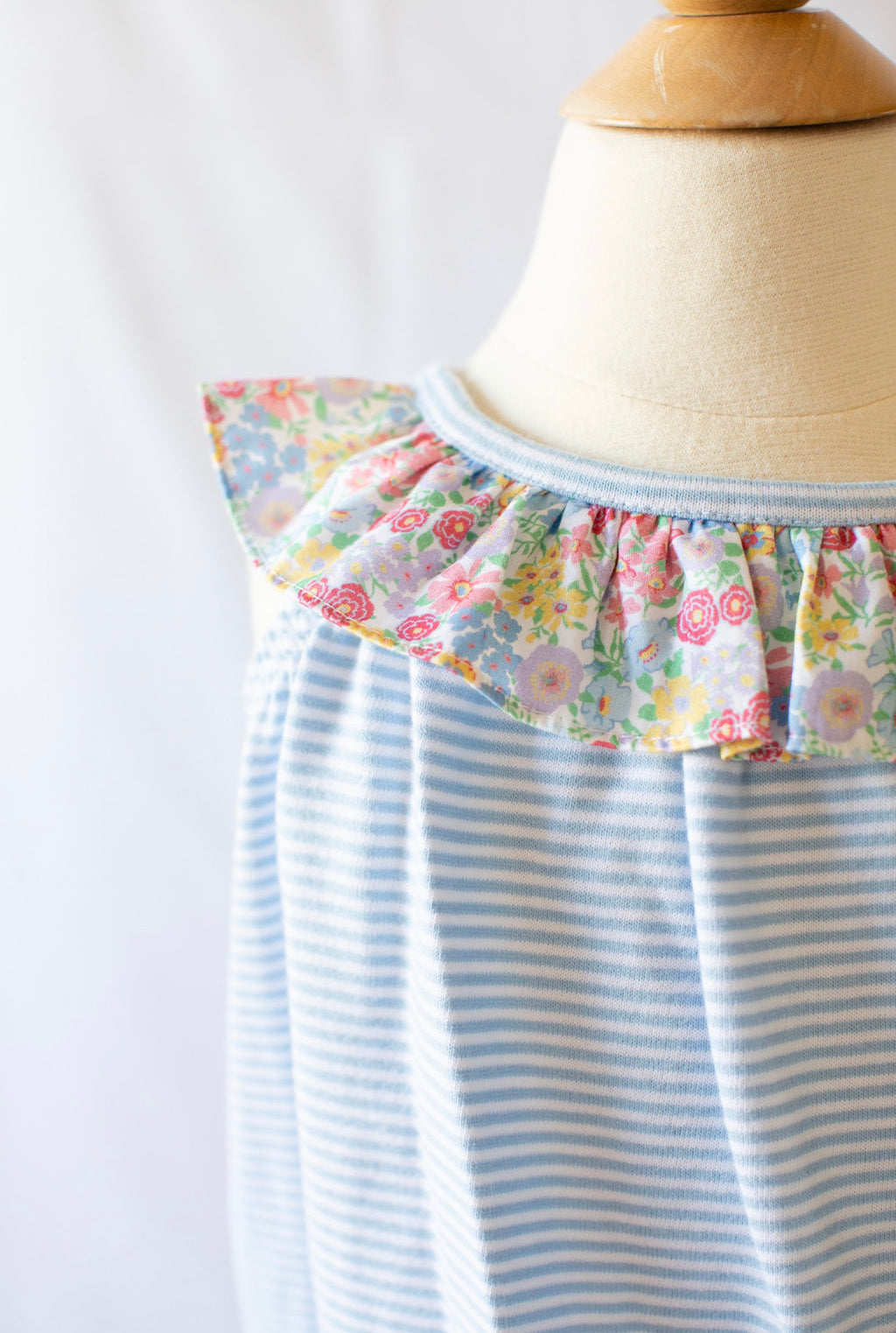 Knit Bubble - Blue Candy Stripe W Churchill Floral - Born Childrens Boutique