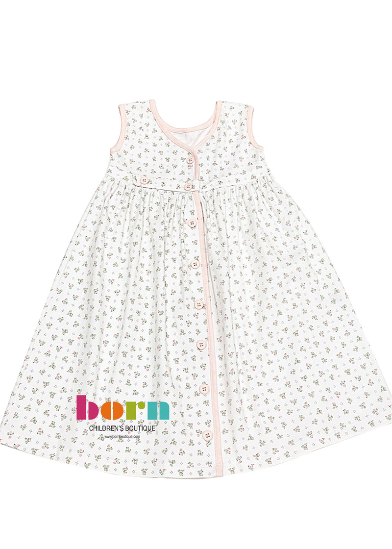 Pink Floral Button Back Sundress - Born Childrens Boutique