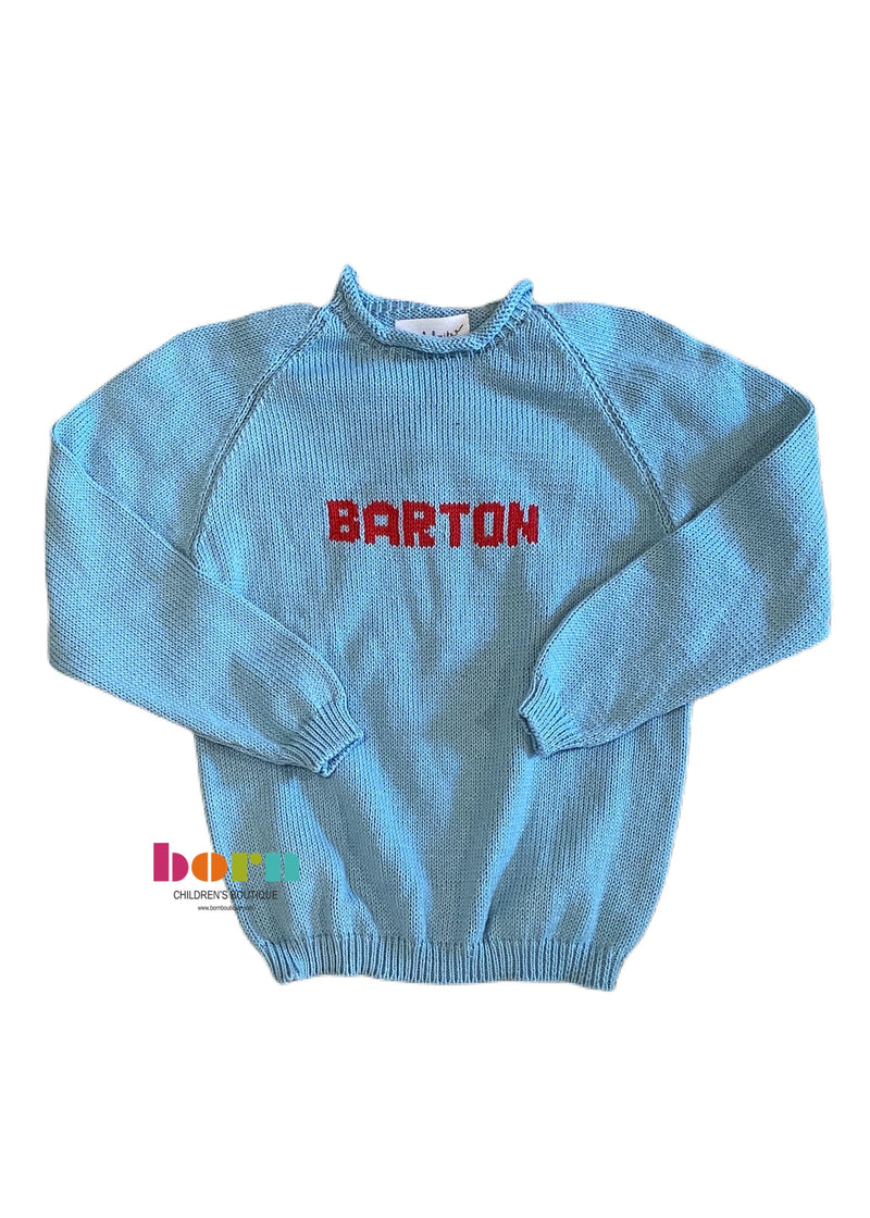 Knit Solid Name Sweater - Born Childrens Boutique