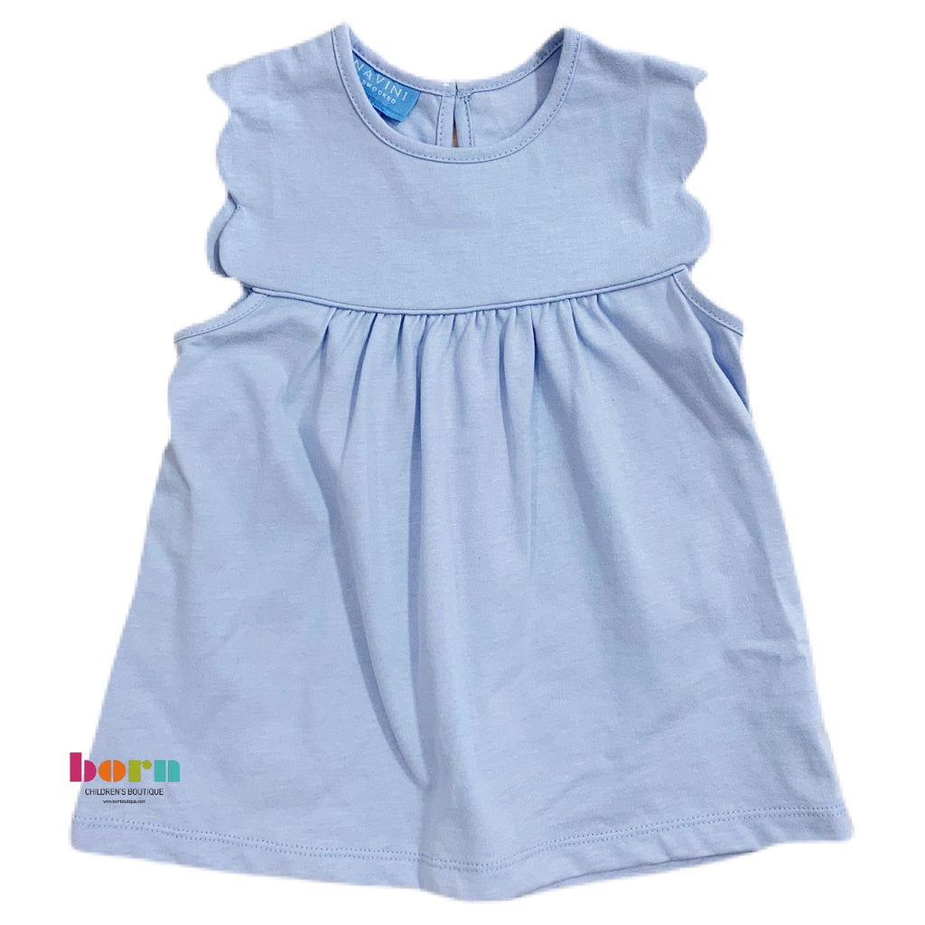 Girl Scallop Sleeve LT Blue T-Shirt - Born Childrens Boutique
