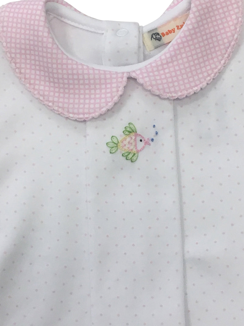 Pink Dot with Pink Gingham Knit Bloomer Set - Fish - Born Childrens Boutique