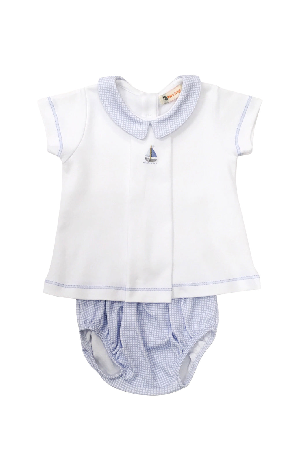 Boy White with Blue Gingham Knit Bloomer Set - Sailboat - Born Childrens Boutique
