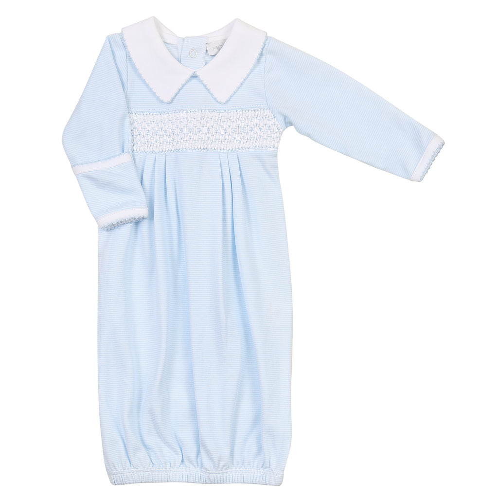 Claire and Clive's Classics Smocked Gown - Light Blue - Born Childrens Boutique