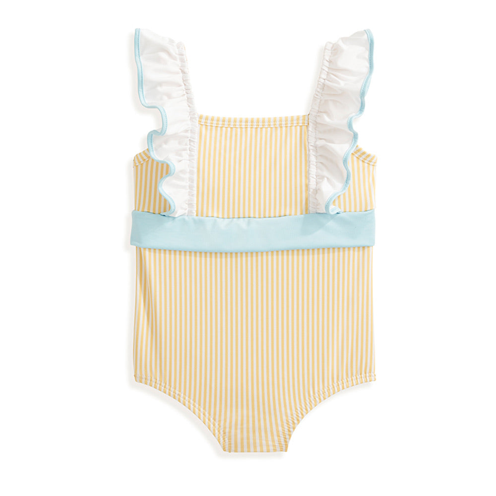 Penelope Bathing Suit - Yellow/White Stripe - Born Childrens Boutique