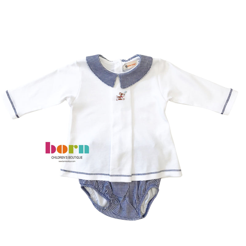 Long Sleeve with Navy Gingham Knit Bloomer Set - Dog - Born Childrens Boutique