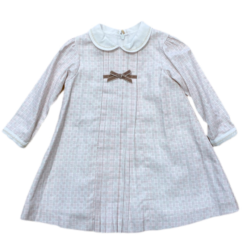 Pink and Tan Plaid Dress - Born Childrens Boutique