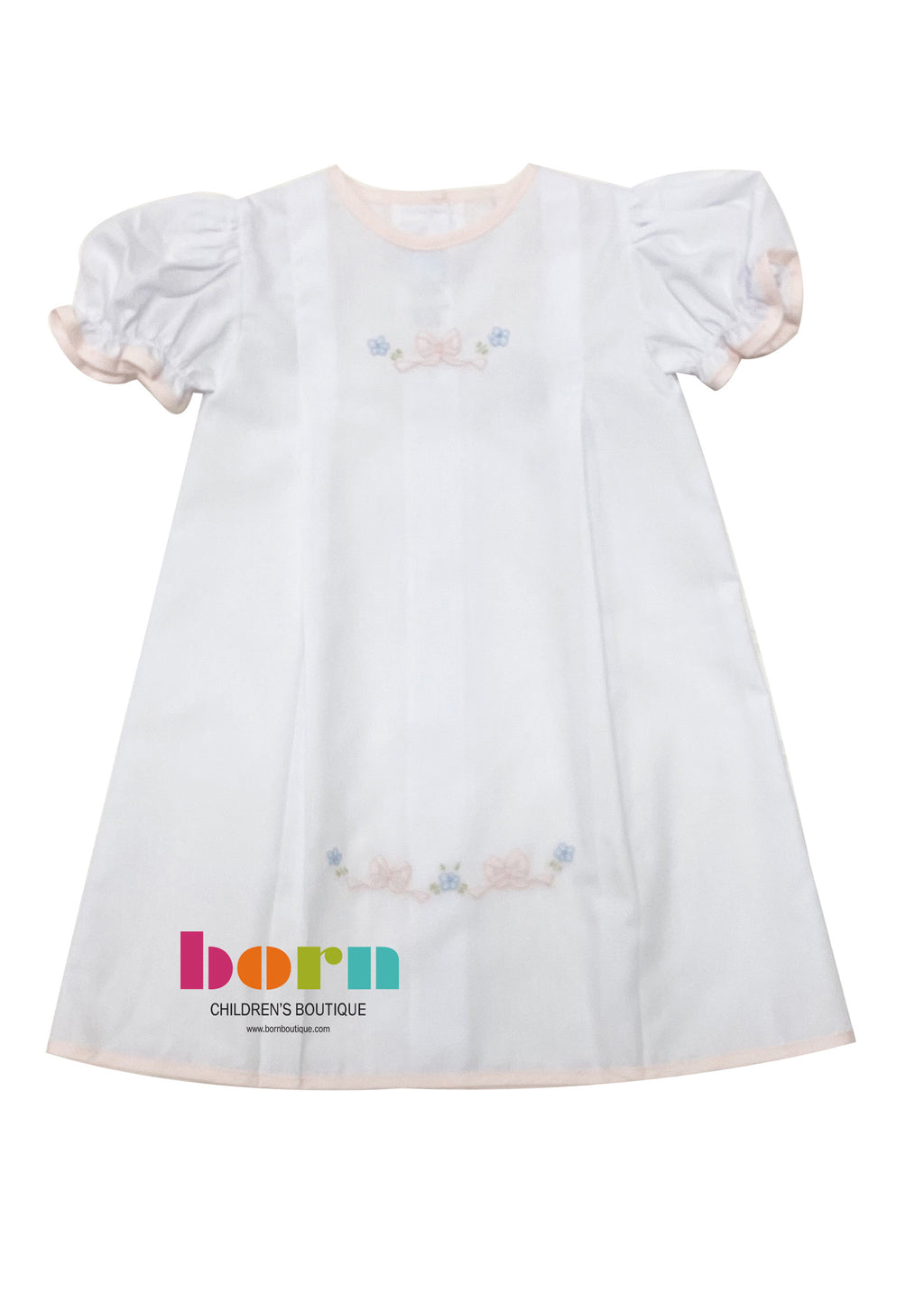 Auraluz Gown White with Pink Bow - Born Childrens Boutique