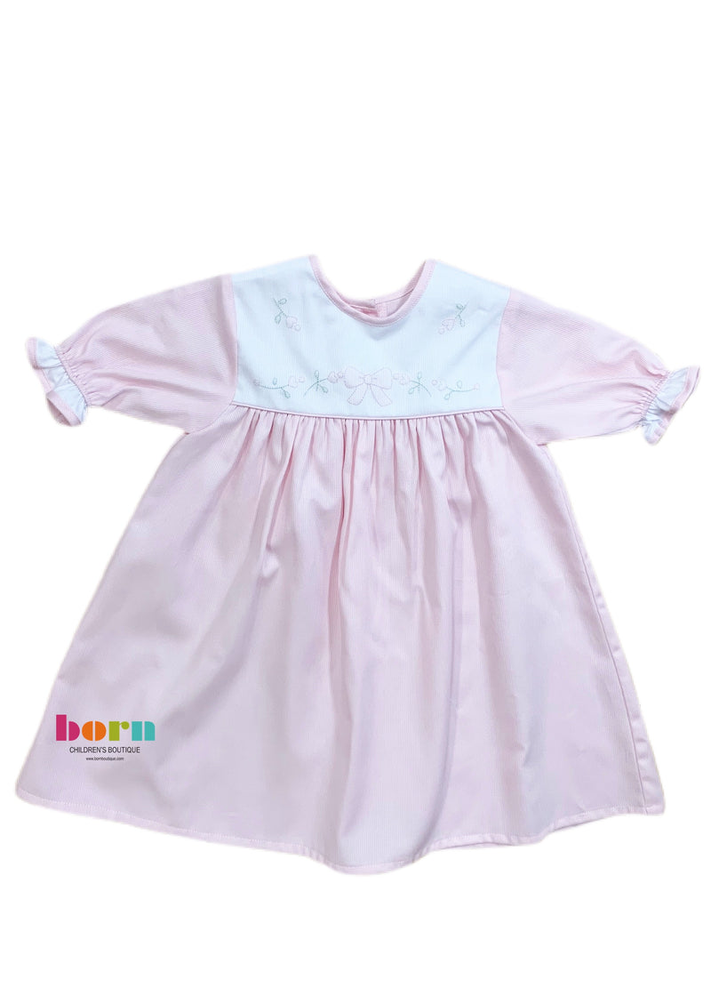 Pique Daygown Pink White Bow - Born Childrens Boutique
