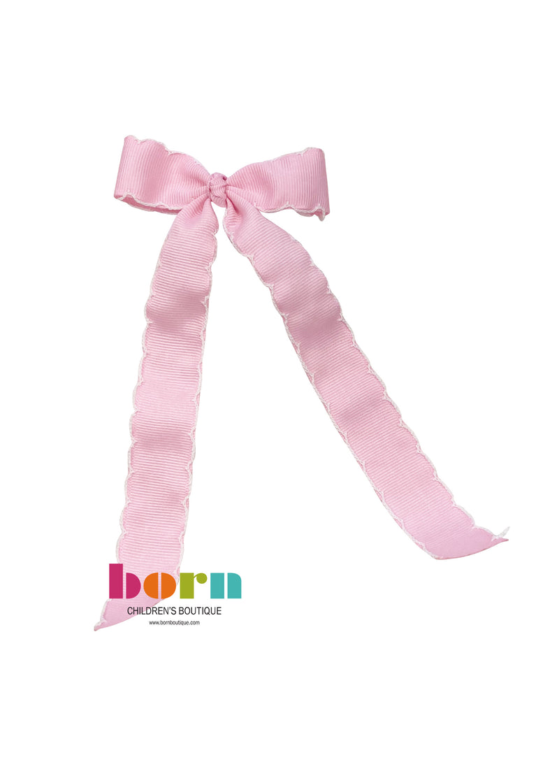 Wee Ones Pink/White Moonstitch Bow with Tail