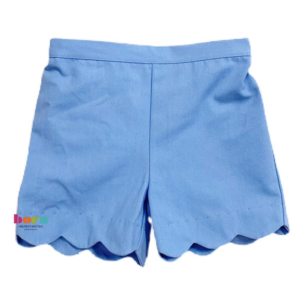 Girl Shorts - Periwinkle Blue Twill - Born Childrens Boutique