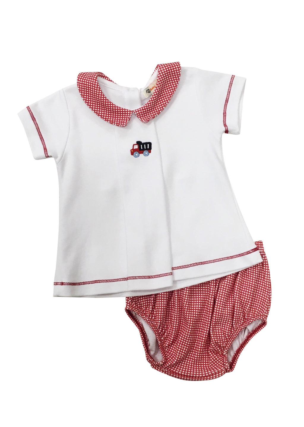 Boy White with Red Gingham Knit Bloomer Set - Dump Truck - Born Childrens Boutique