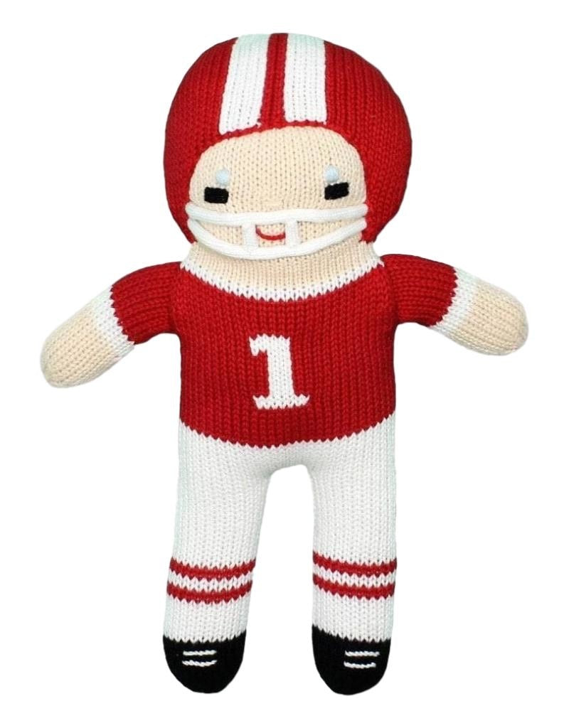Red and White Football Player Doll 12 inches