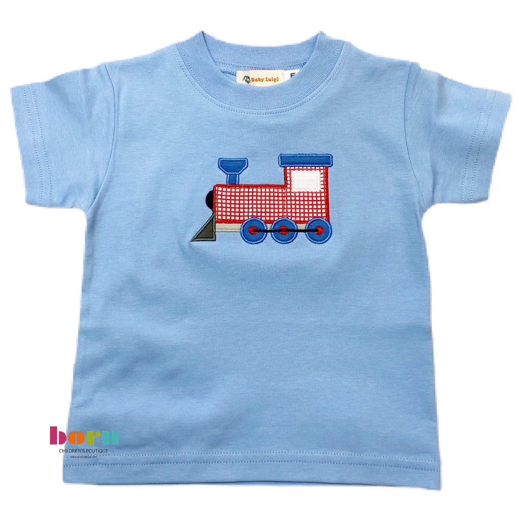 Boy S/S T-Shirt Train Locomotive Sky Blue - Born Childrens Boutique