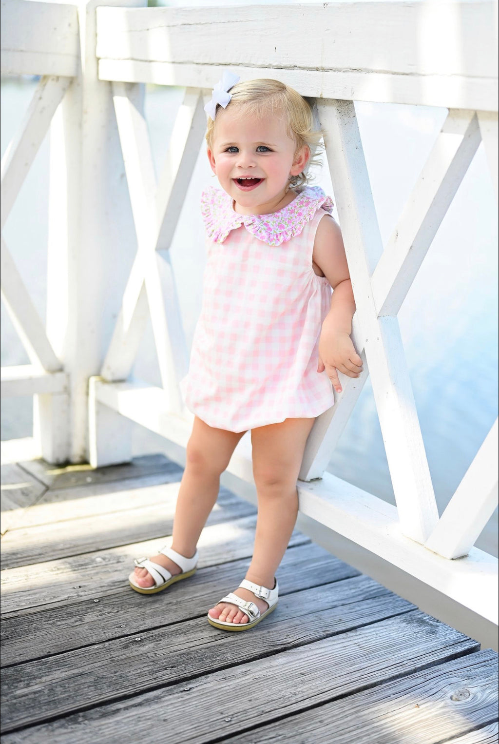 Pre-Order Maisy Bubble - Knit Pink Gingham and Floral Collar - Born Childrens Boutique
