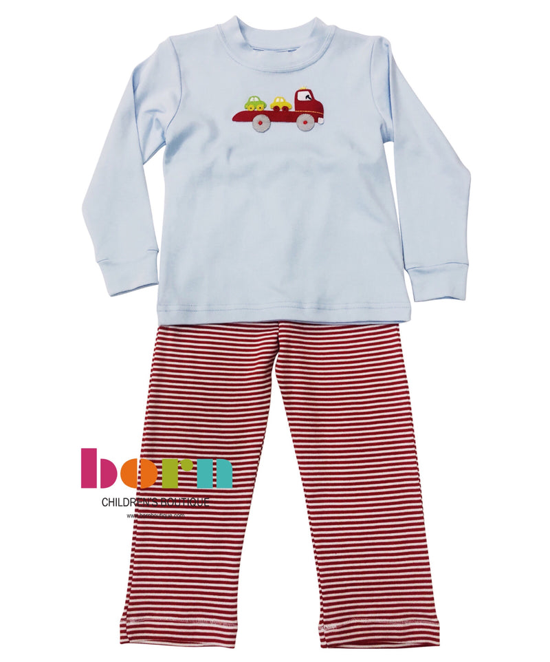 Car Carrier Applique Two Piece Set Blue with Red Stripe - Born Childrens Boutique