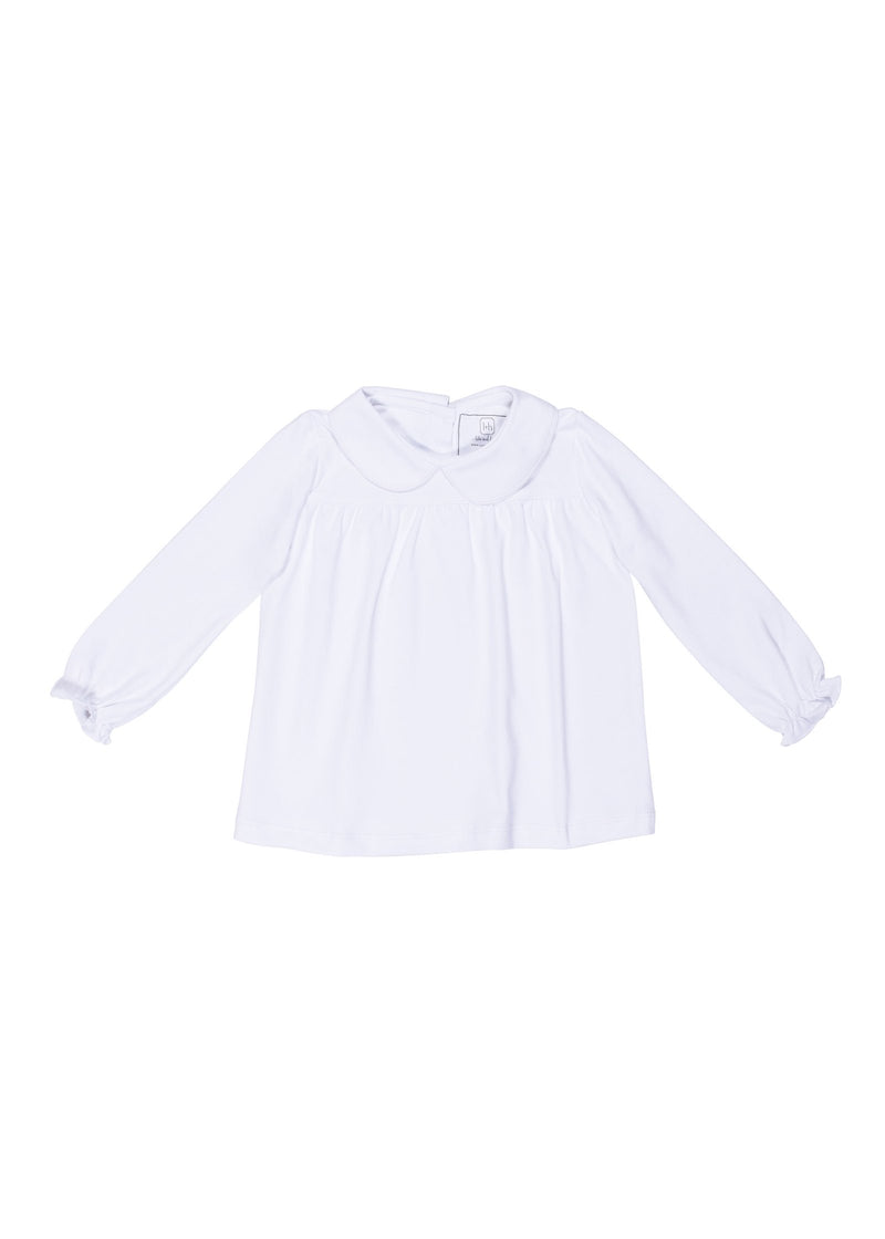 Morgan Longsleeve Peter Pan Collar Top - White