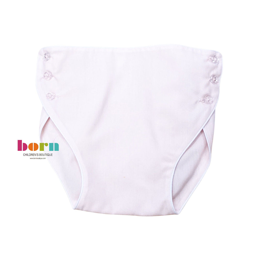 Carriage Boutique Baby Girl Panty Diaper Covers White Bloomers with Pink Bow