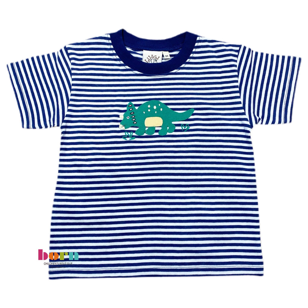 Boy S/S T-Shirt Triceratops DarkRoyal/Wht - Born Childrens Boutique