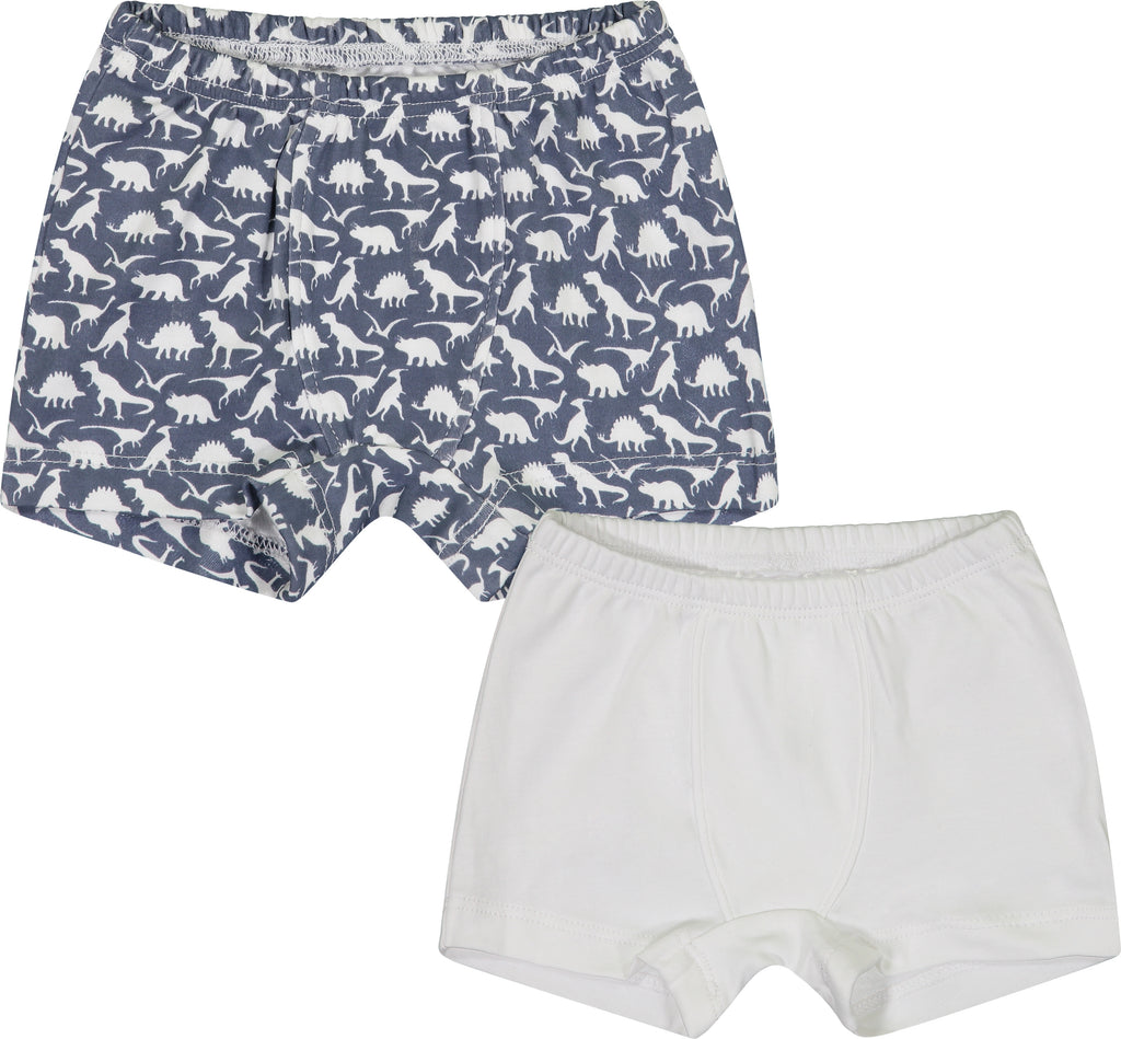 Pre-Order James Boxers - 1 White, 1 Dinosaurs - Born Childrens Boutique