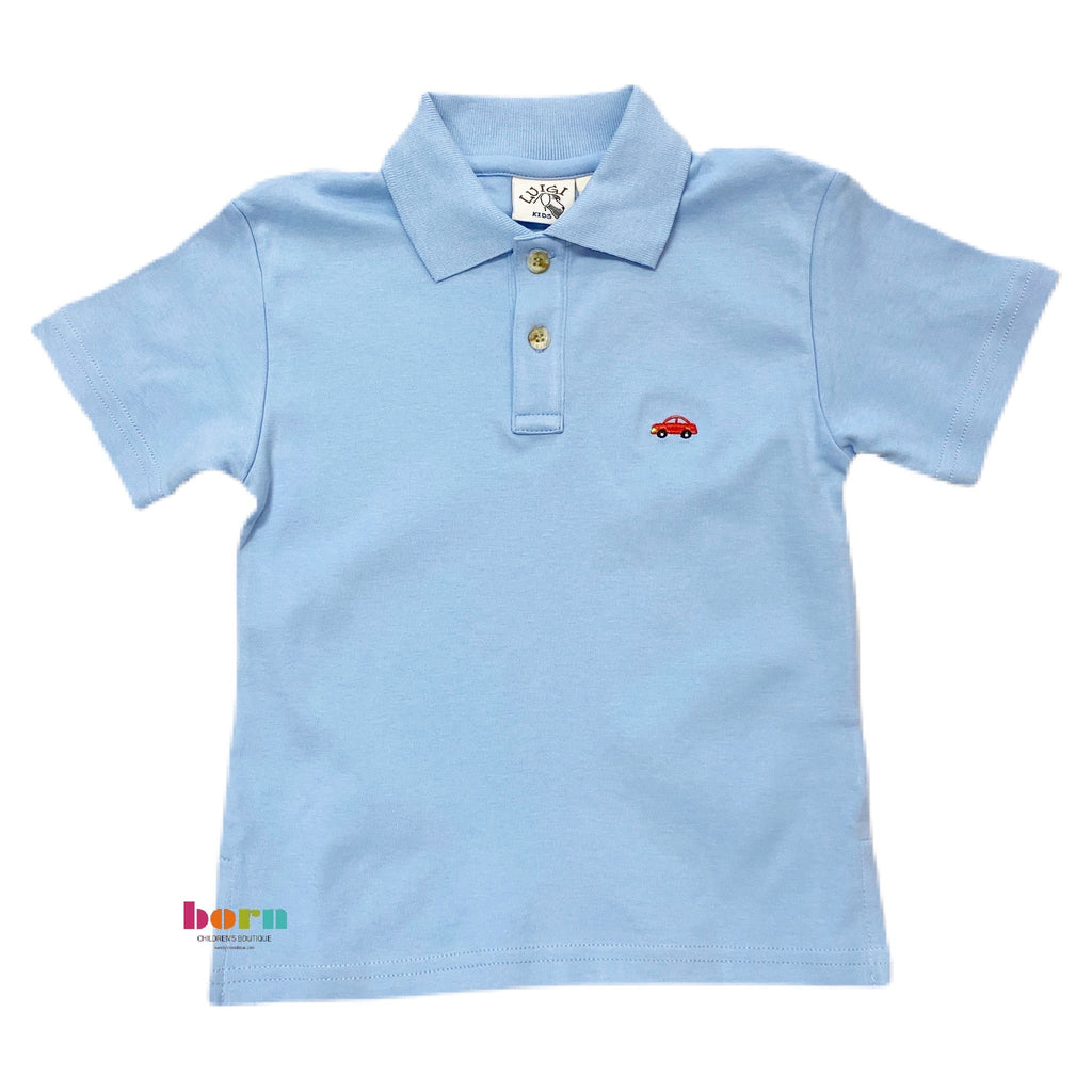 Boy S/S Polo Car Sky Blue - Born Childrens Boutique