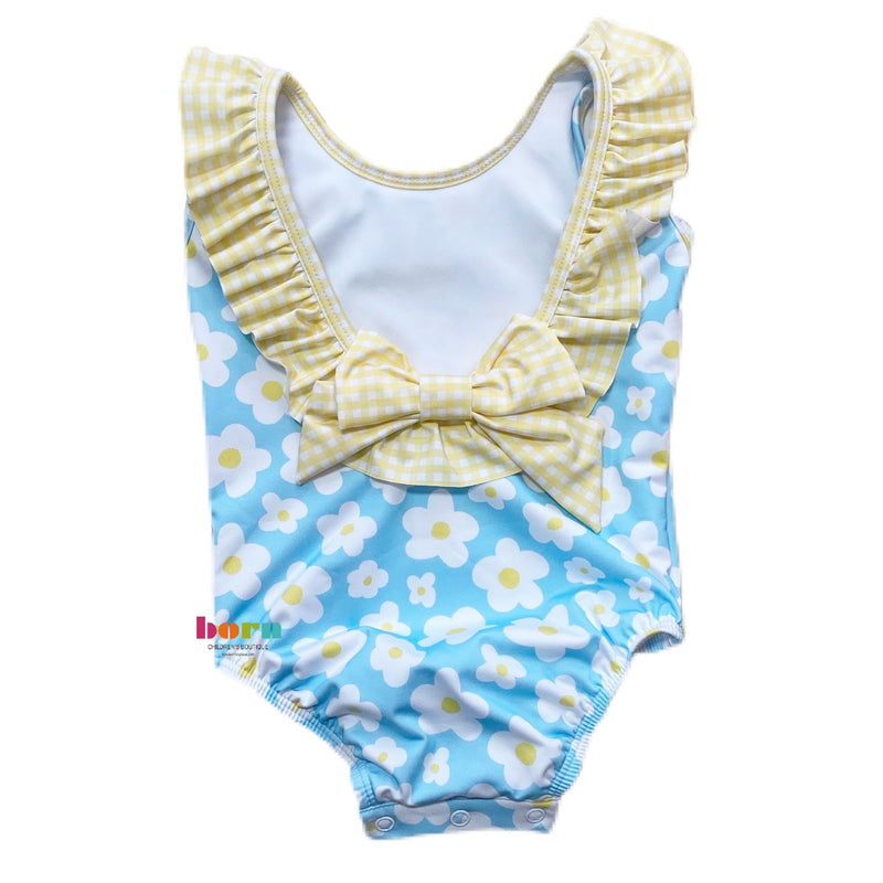 Tess Ruffle Swim Suit - Daisy with Yellow Check - Born Childrens Boutique
