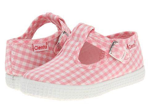 Cienta Kids T-Strap Light Pink Gingham