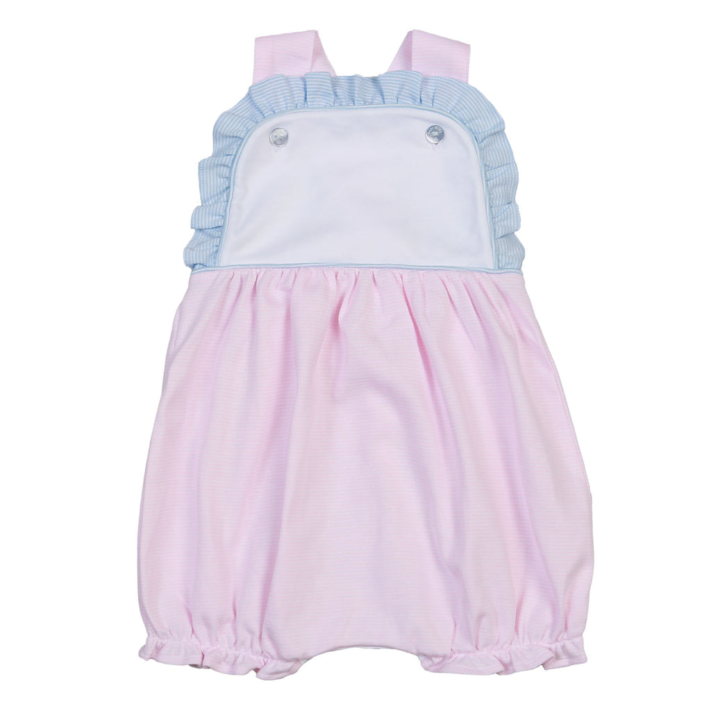 Jay Pink And Blue Tiny Stripes Pima Sun Bubble - Born Childrens Boutique