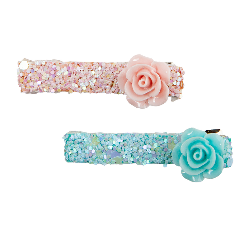 Boutique Glitter Rosette Hair Clip - Born Childrens Boutique