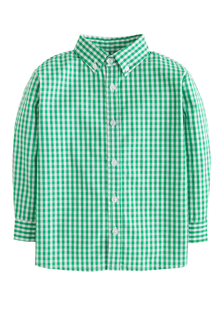 Button Down Shirt - Augusta Green - Born Childrens Boutique
