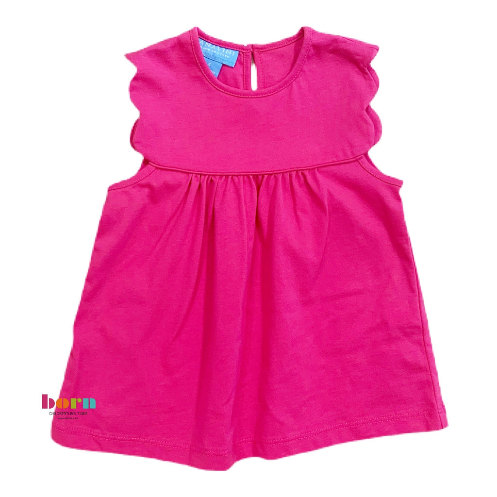Girl Scallop Sleeve Hot Pink T-Shirt - Born Childrens Boutique
