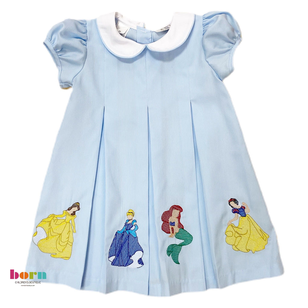 Blue Embroidered Princess Dress - Born Childrens Boutique