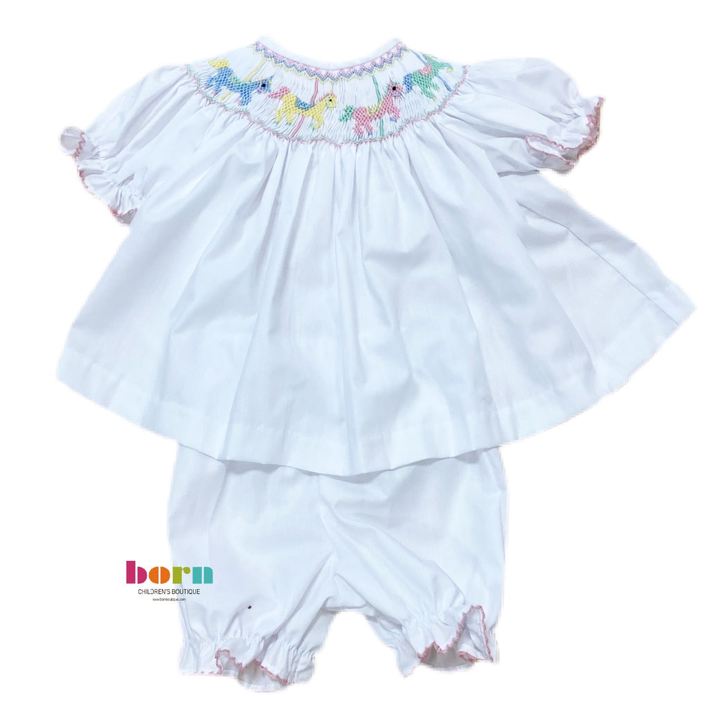 Carousel SS Smocked Bloomer Set White - Born Childrens Boutique