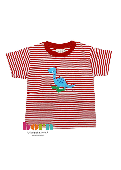 Red Stripe Dino w/ Flippers Applique Short Sleeve Shirt