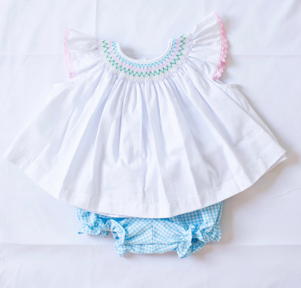 Millie Bloomer Set - White Rib Top W Pond Gingham Bloomer - Born Childrens Boutique