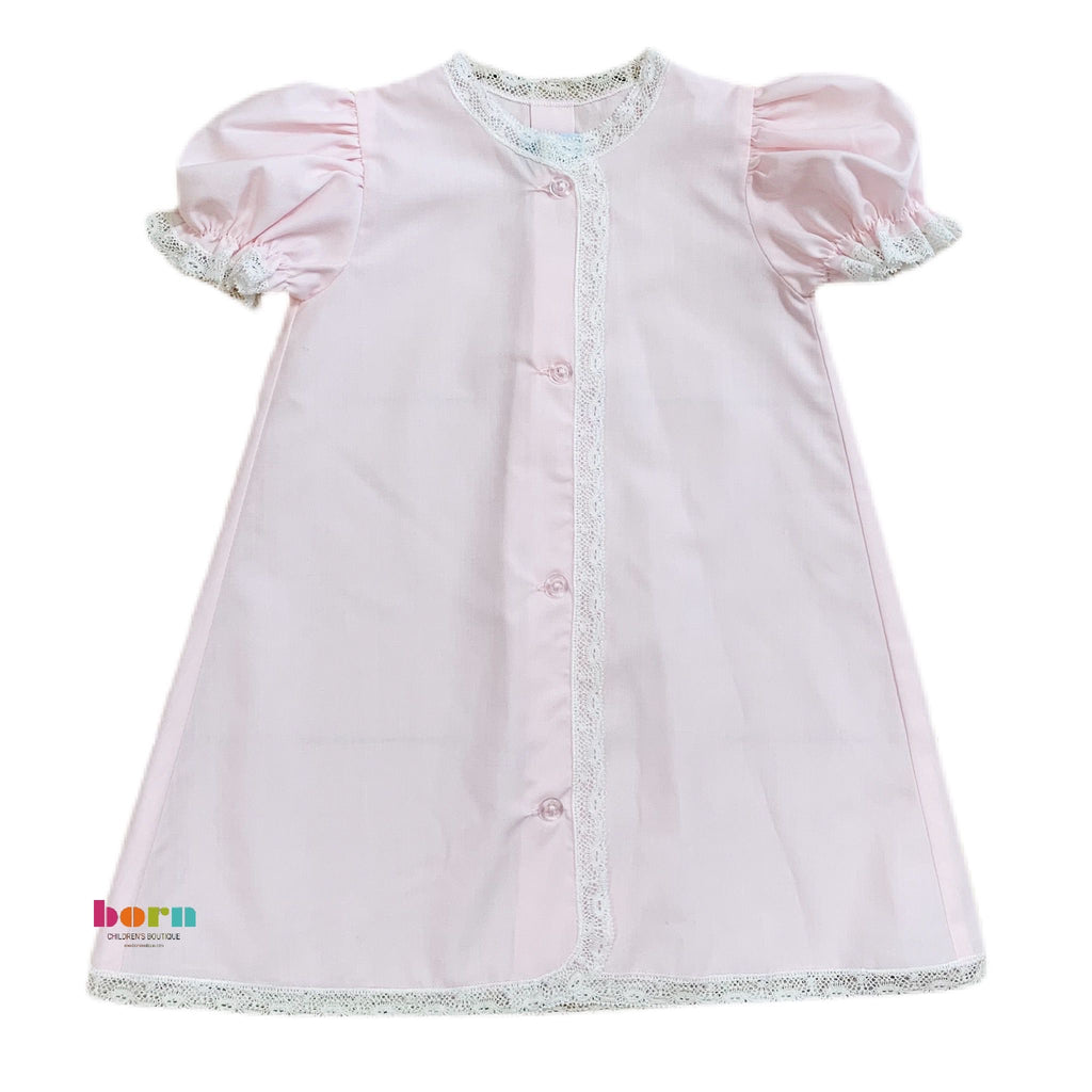 Daygown Pink w/Ecru Lace - Born Childrens Boutique