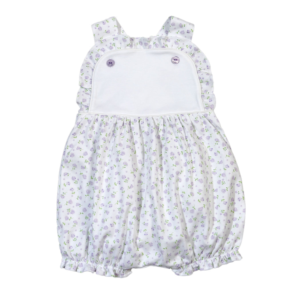 Lacey Purple Floral Pima Sun Bubble - Born Childrens Boutique