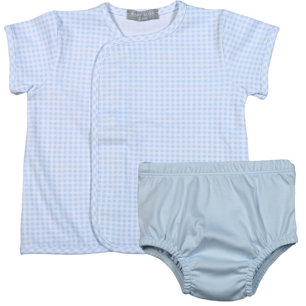 Blue Gingham Pima Diaper Cover Set - Born Childrens Boutique