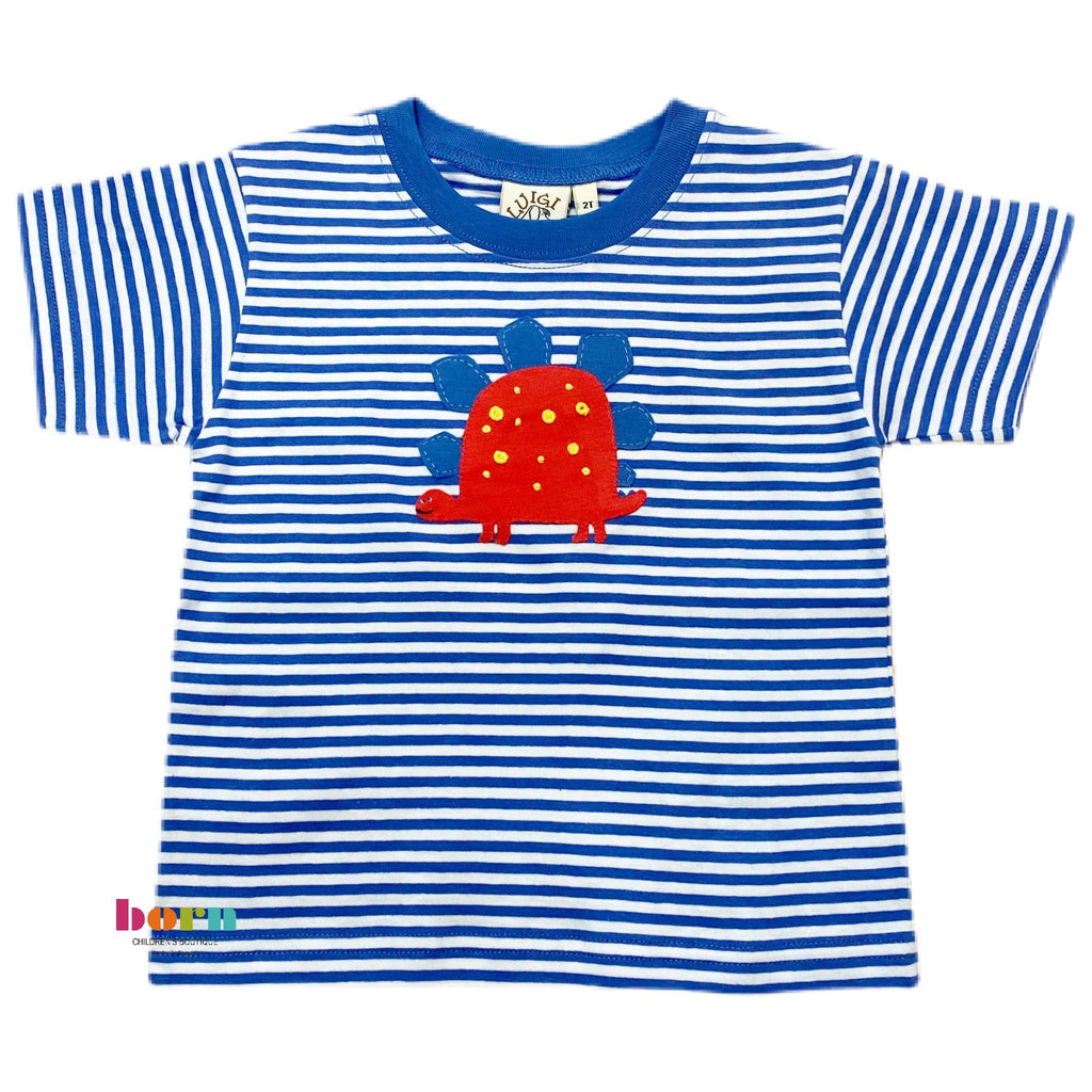Boy S/S T-Shirt Stegosaurus Chambray/Wht - Born Childrens Boutique