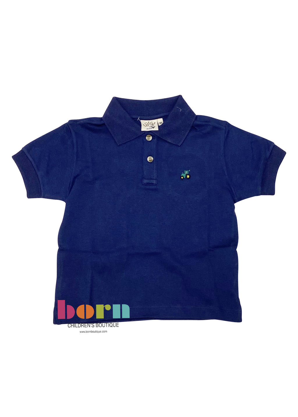Short Sleeve Polo Dark Royal with Tractor - Born Childrens Boutique