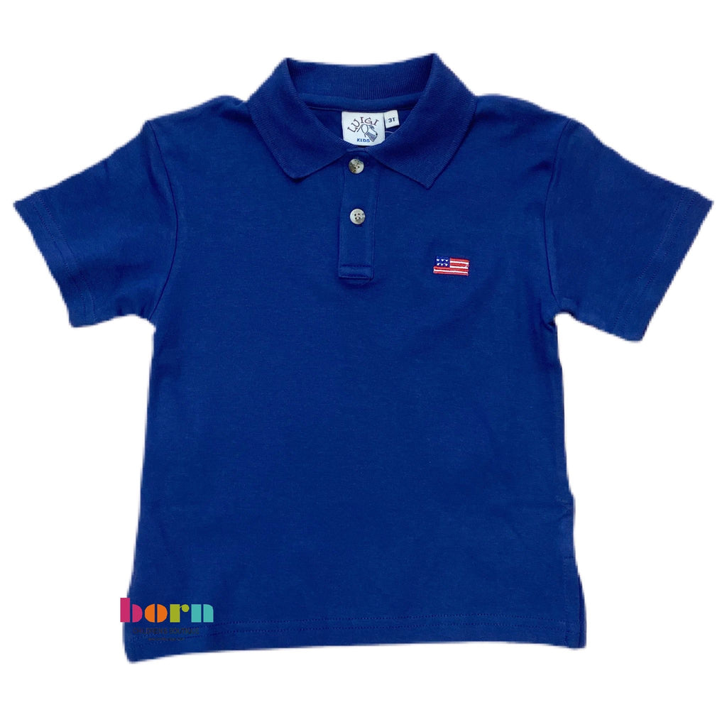 Boy S/S Polo American Flag Dark Royal - Born Childrens Boutique