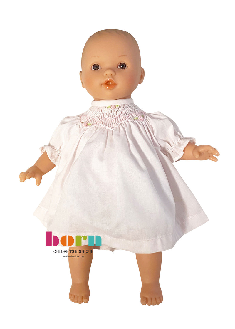 Baby Abby Doll with Pink Smocked Dress
