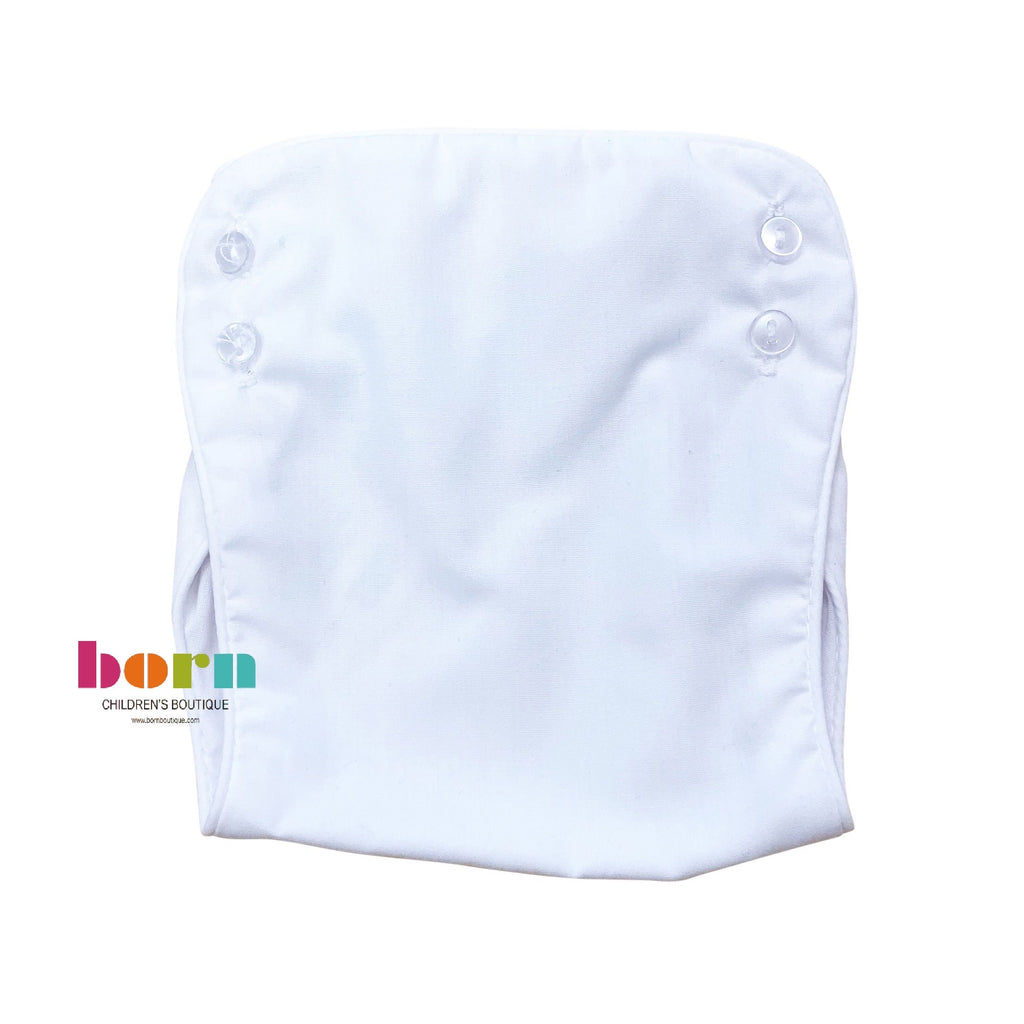 Piped Newborn Diaper Cover White - Born Childrens Boutique