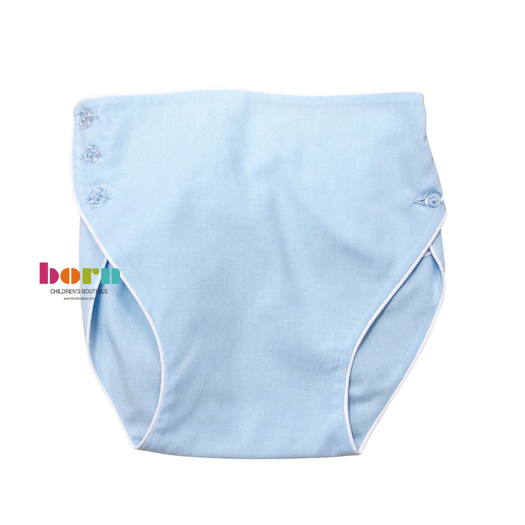 Blue Piped Diaper Cover - Born Childrens Boutique