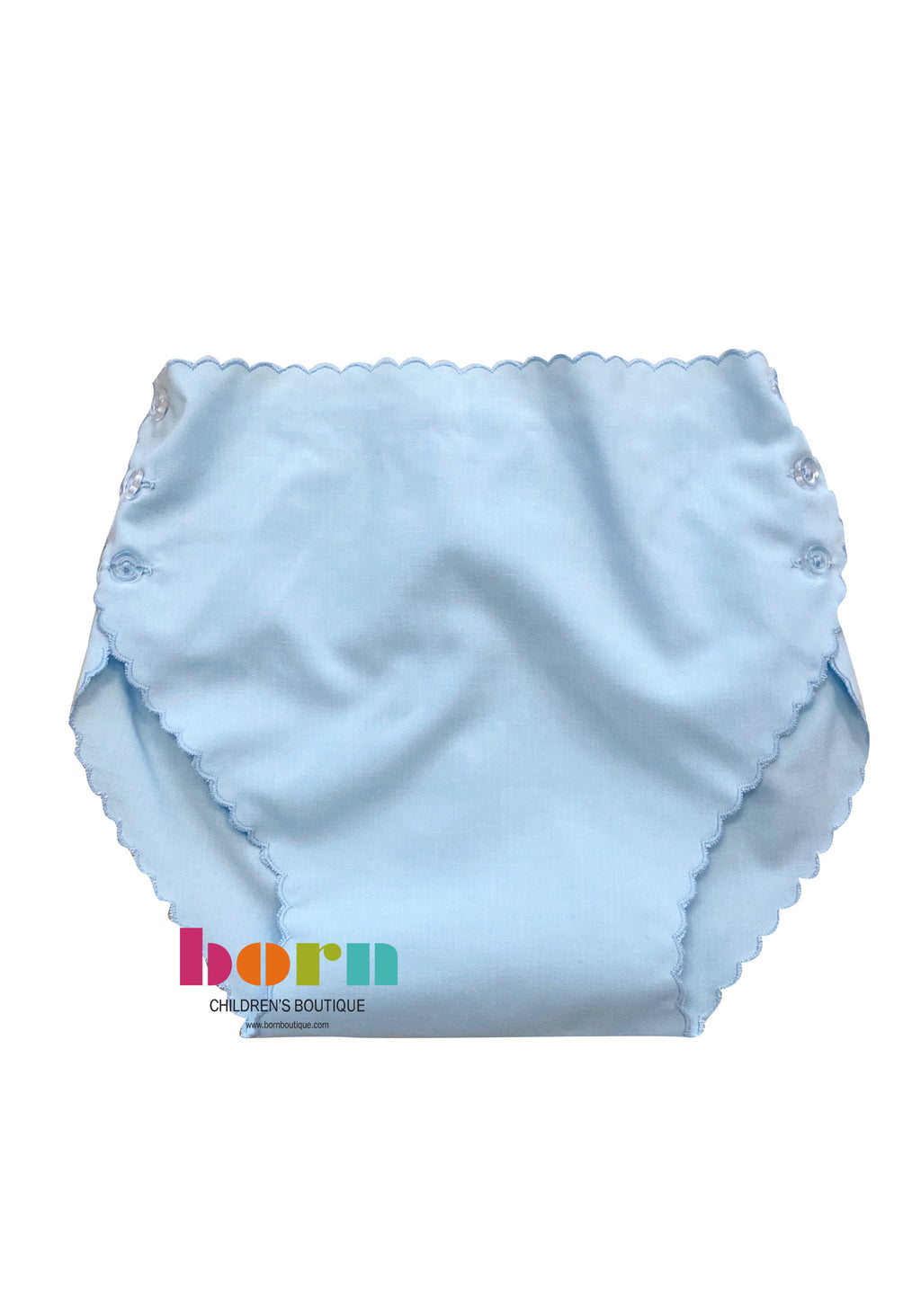 Blue Scalloped Diaper Cover - Born Childrens Boutique