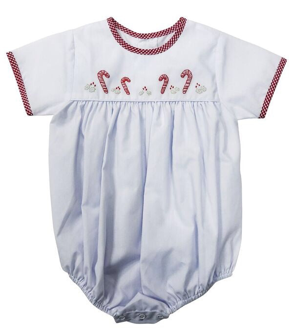 Bubble White/Red Check w/ Candy Canes - Born Childrens Boutique