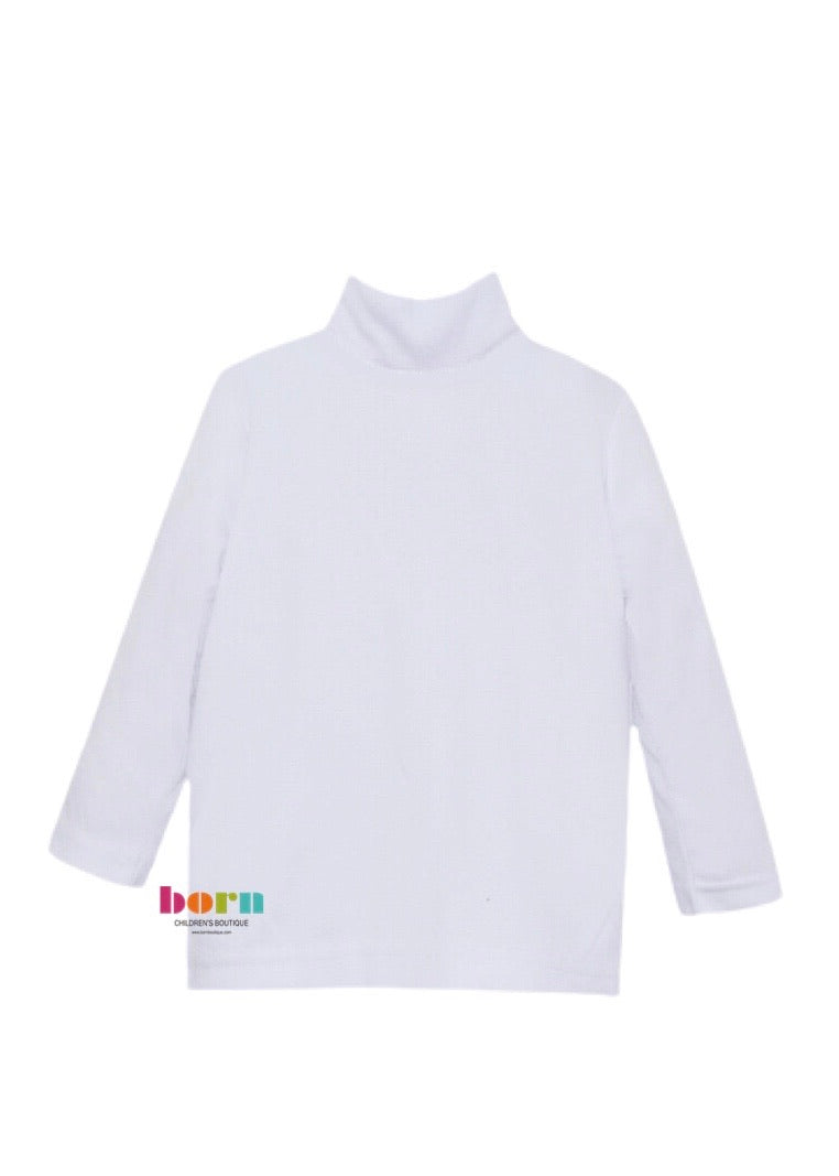 (Gather Together) Tiny Tot Turtleneck L/S - All White - Born Childrens Boutique
