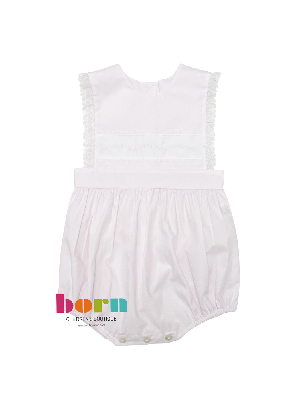 Heirloom Sleeveless Insert Bubble Pink with White - Born Childrens Boutique